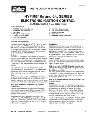 Mallory Ignition Mallory HYFIRE 6A and 6AL SERIES
