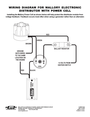 Mallory Ignition Mallory DISTRIBUTOR WITH POWER CELL 611M User Manual   1 page