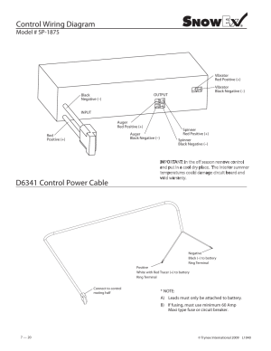 Control wiring diagram, D6341 control power cable, Model