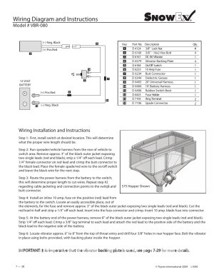 Wiring diagram and instructions, Model # vbr080, Wiring