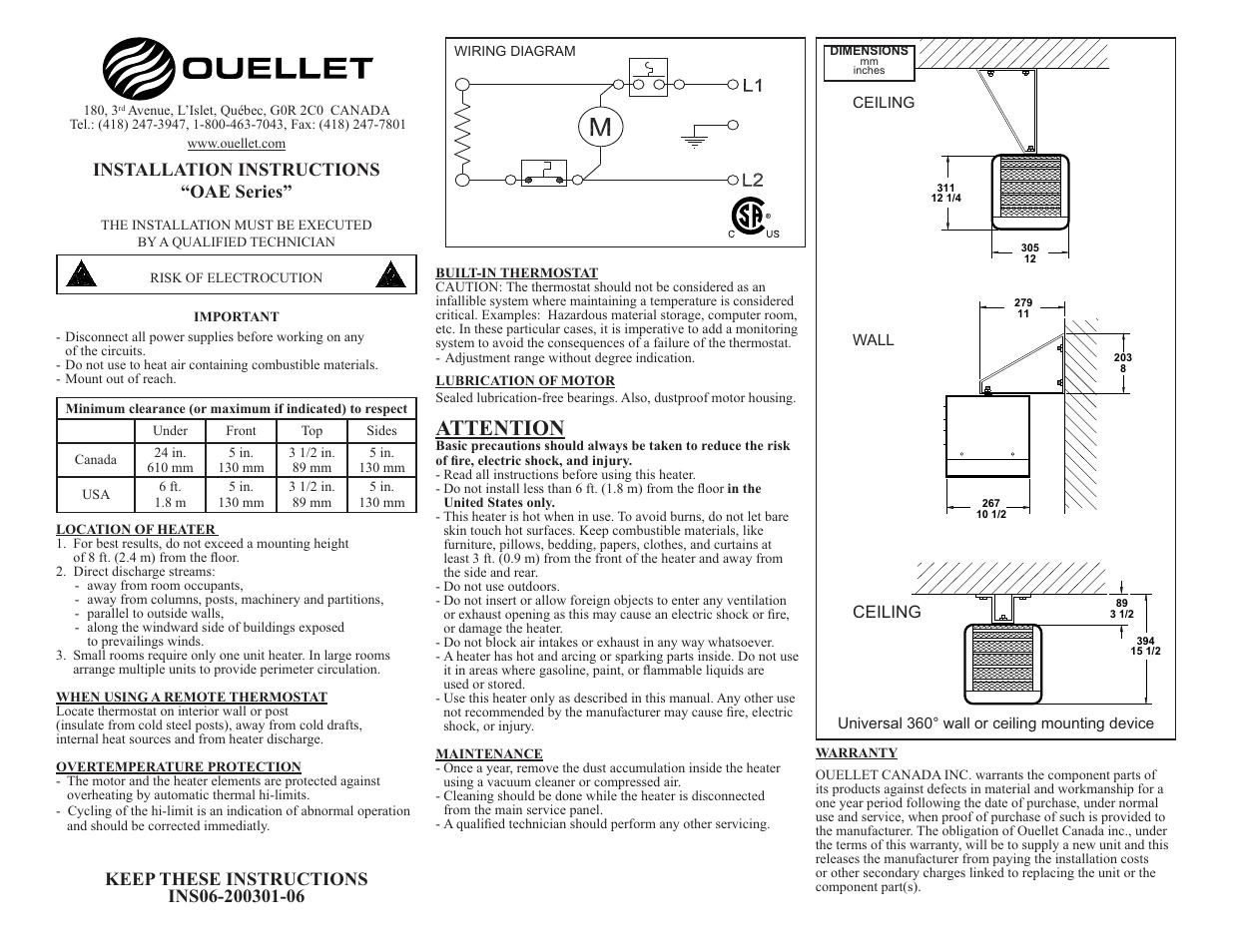 Ouellet Oae User Manual
