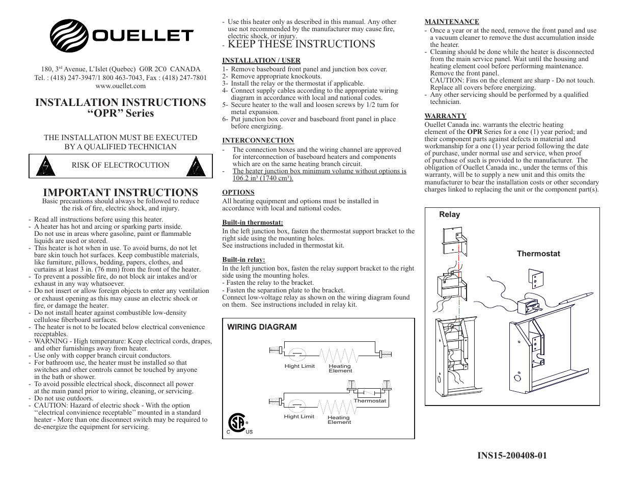 Ouellet Opr User Manual