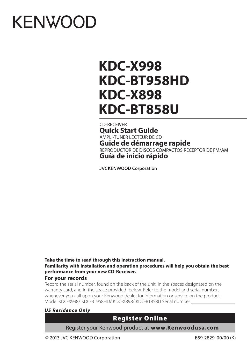 Kenwood Kdc X898 User Manual