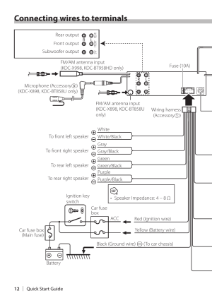 Connecting wires to terminals | Kenwood KDCX898 User Manual | Page 12  48
