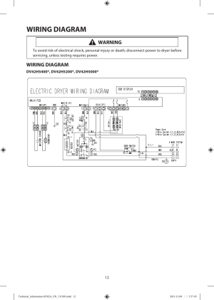 Wiring diagram, Warning | Samsung DV42H5200EFA3 User