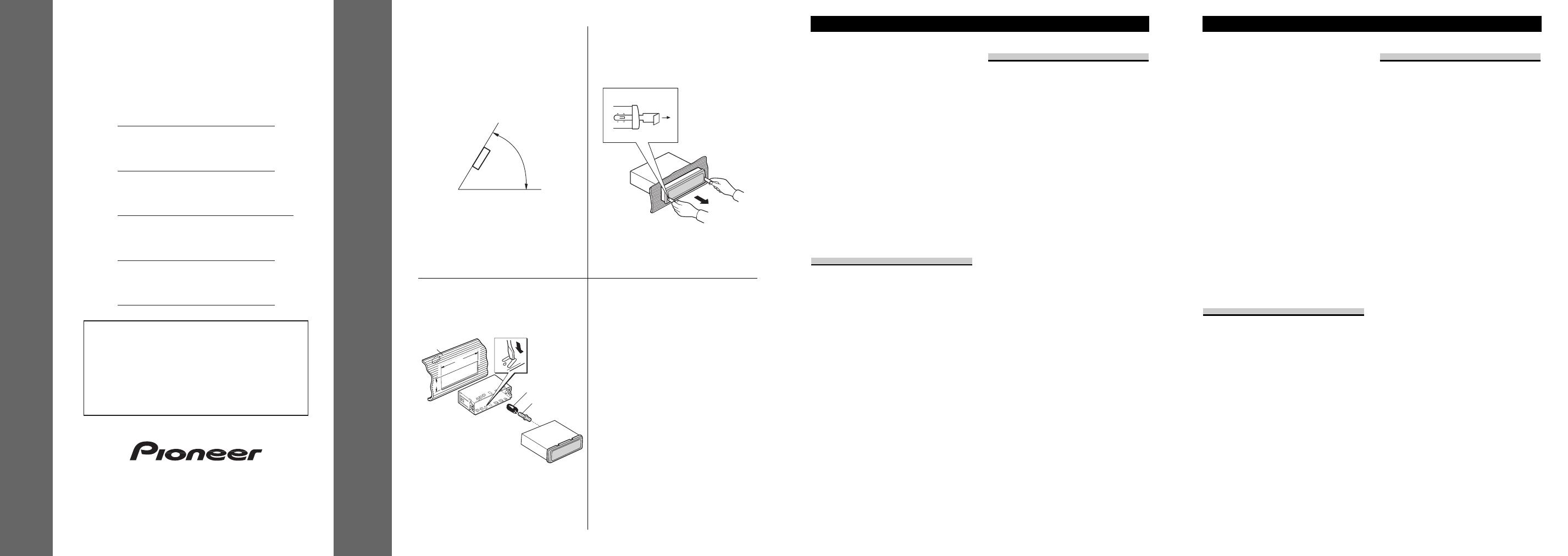Pioneer Deh R User Manual