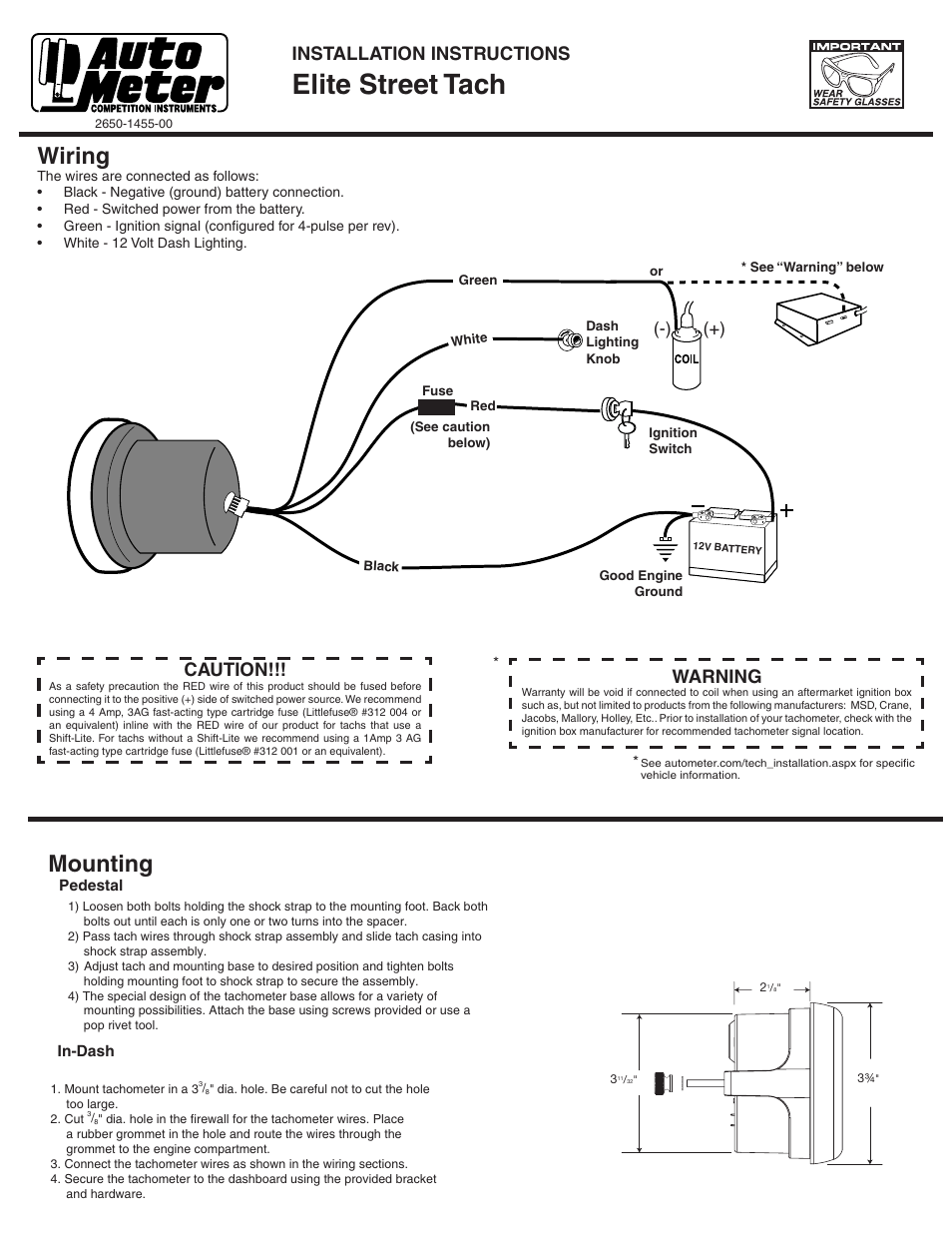 Tel Tach Wiring Diagram Magneto 31 Images For Msd Tachometer Diagrams Auto Meter 5690 Page1resize