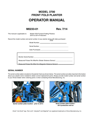 Kinze 3700 Front Folding Planter Rev 714 User Manual | 172 pages