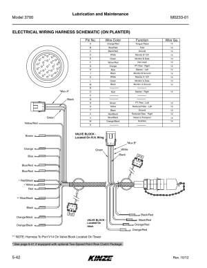 Electrical wiring harness schematic (on planter), Rev 10