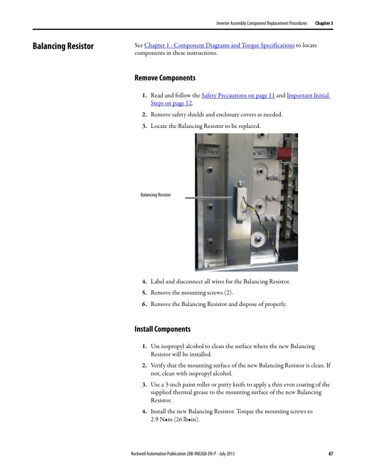 balancing resistor remove components install rockwell  powerflex 700 drive  frame 8 components replacement installation instructions