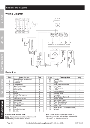 Wiring diagram, Parts list | Chicago Electric MIG 180 Wire