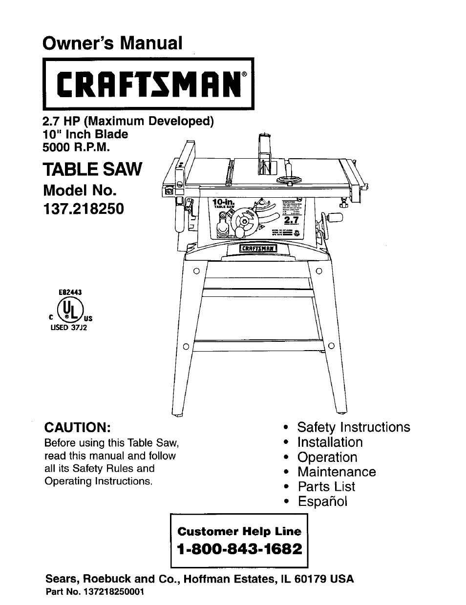 Strange Craftsman 10 Inch Table Saw Model 137 Manual Wallseat Co Download Free Architecture Designs Rallybritishbridgeorg