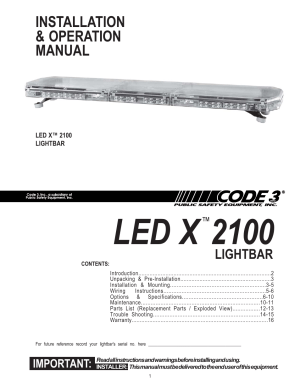 Code 3 2100 User Manual | 16 pages