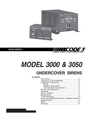 Code 3 Undercover Siren User Manual | 10 pages