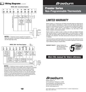 3000 12_warranty, Limited warranty, Year | Braeburn 3200