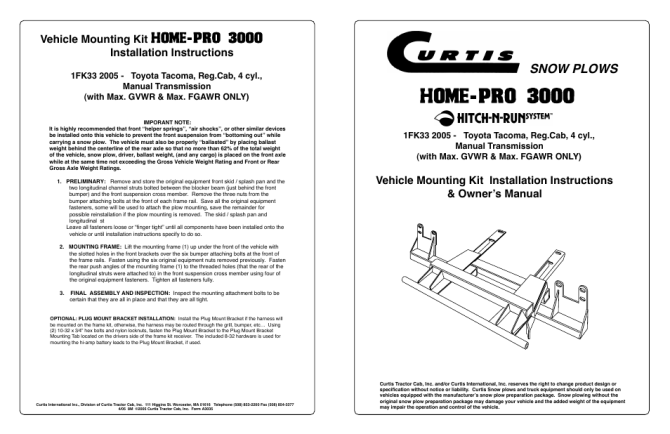 curtis homepro 3000 user manual  4 pages