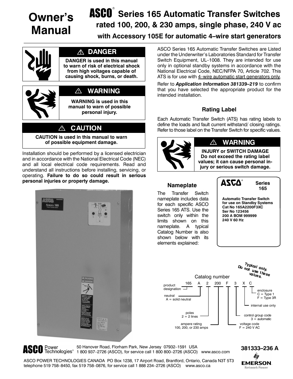 Manuals Asco Transfer Switch