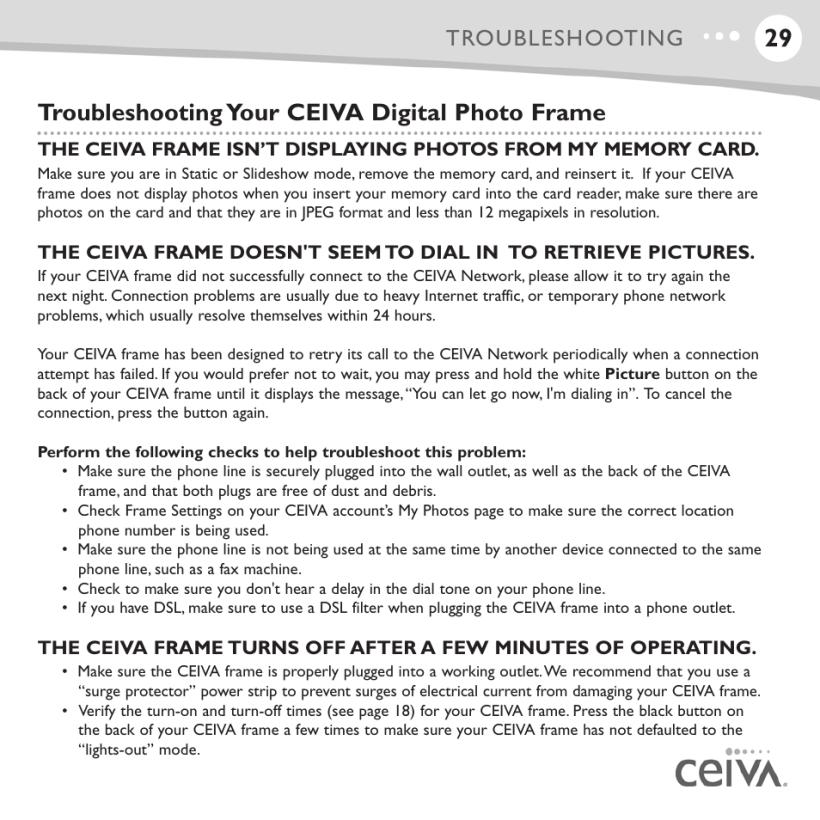 Ceiva Frame Troubleshooting   Allcanwear.org