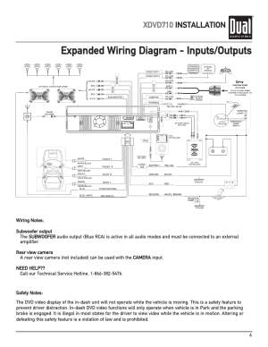 Expanded wiring diagram  inputsoutputs, Xdvd710 installation | Dual XDVD710 User Manual | Page