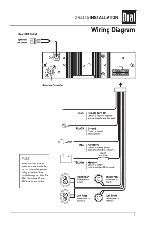 Wiring diagram, Xr4115 installation | Dual XR4115 User