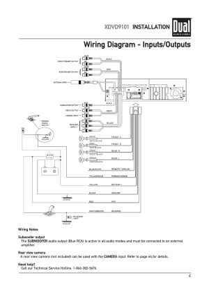 Wiring diagram  inputsoutputs, Xdvd9101 installation