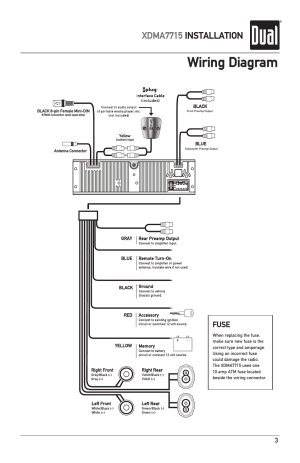 Wiring diagram, Xdma7715 installation, Fuse | Dual IPLUG XDMA7715 User Manual | Page 3  24
