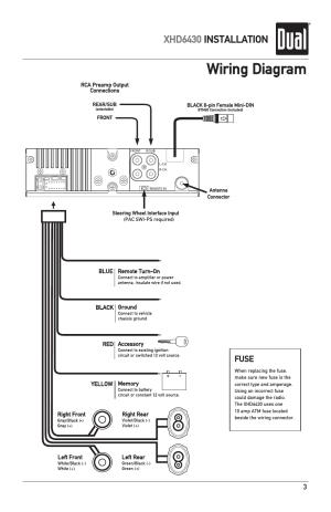 Wiring diagram, Xhd6430 installation, Fuse | Dual XHD6430 User Manual | Page 3  32