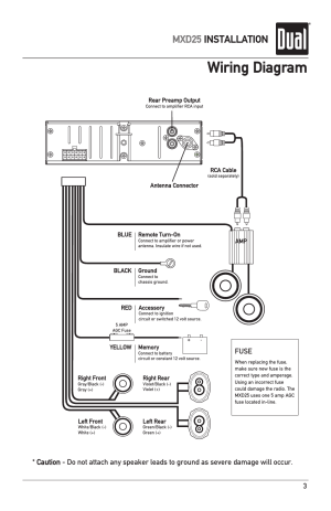 Wiring diagram, Mxd25 installation, Fuse | Dual MXD25 User