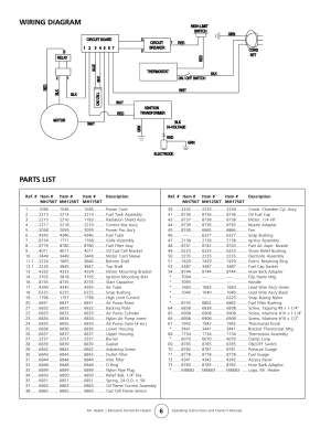 Wiring diagram, Parts list | Enerco MH175KT User Manual