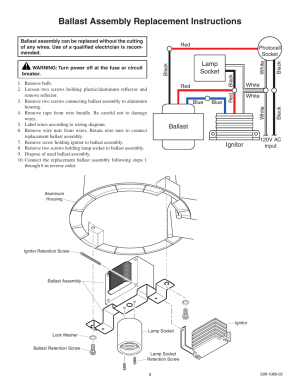 Ballast assembly replacement instructions, Lamp socket