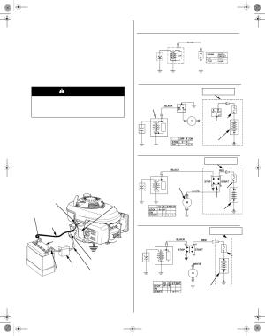 Battery connections, Wiring diagrams, Warning   HONDA GCV190 User Manual   Page 13  48