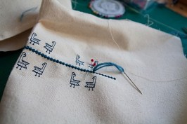 "Embroidery on ""Gallinelle"" fabric - ""Nowhere Memories"" collection"