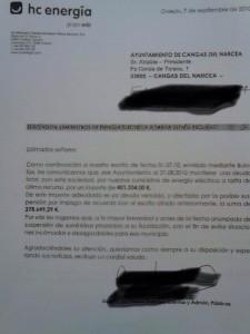 Comunicación de EDP al Ayuntamiento en 2010, donde se informa de un impago de 400.000 €.