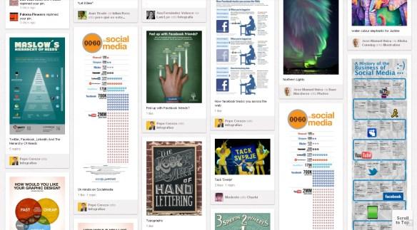 Publicaciones en Pinterest. Cuadrícula descuadrada