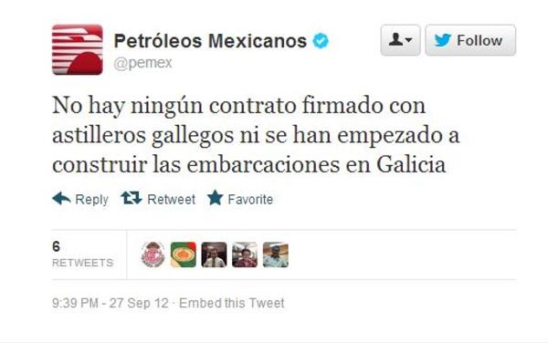 Uno de los tuits borrados por Pemex