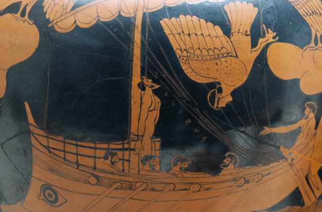 Ulises y las sirenas (ceramica ática, vía Wikipedia)