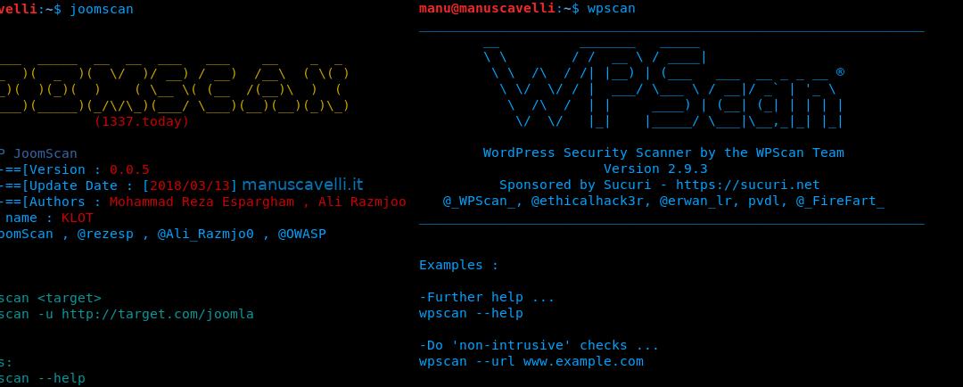 JoomScan e WPScan