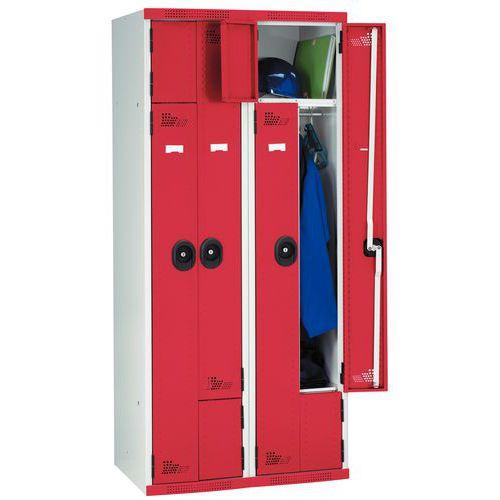 vestiaire porte l 1 et 2 colonnes largeur 400 mm sur socle acial