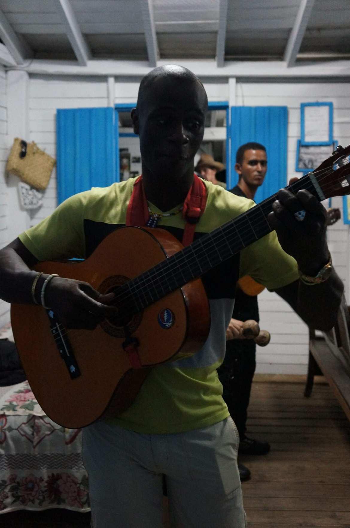 performing music at La Finca Agroecologica El Paraiso, vinales