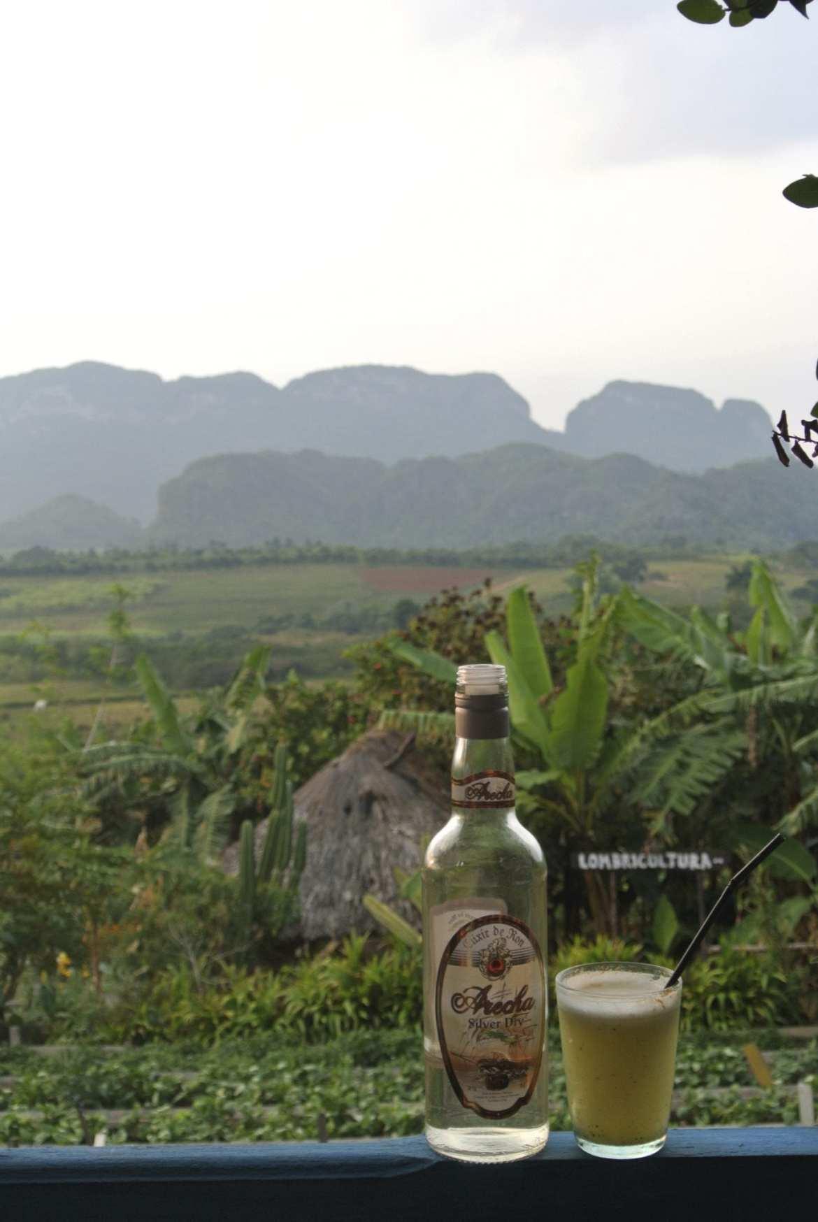 view with rum at La Finca Agroecologica El Paraiso, vinales