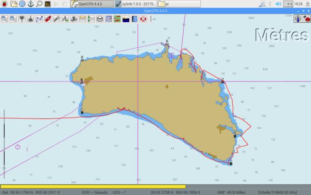 Notre trace GPS autour de l'île de Minorque.