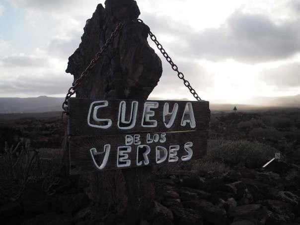 Panneau d'entrée de la Cueva de los Verdes, sur Lanzarote.
