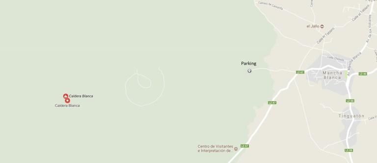 Plan d'accès à la randonnée vers la Caldera Blanca, sur l'île de Lanzarote.