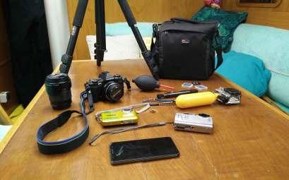 Notre matériel photographique à bord de Manwë.