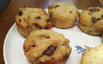 Muffins à la banane et au chocolat cuisinés sur Manwë.