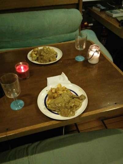 Poulet curry avec patates douces et bananes pour le réveillon de Noël 2017.