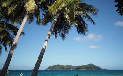 Vue sur Little Tobago devant Speyside.