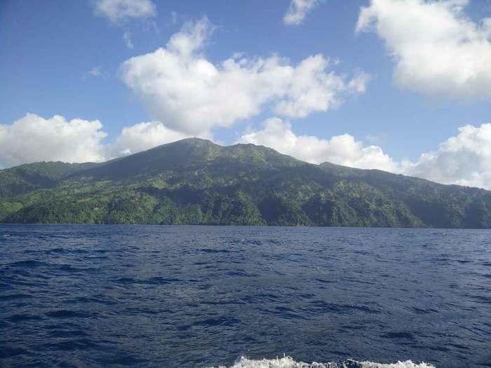 La Soufrière, le volcan de Saint Vincent, au nord-ouest de l'île.