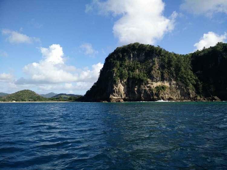 La côte ouest de l'île de Sainte Lucie.