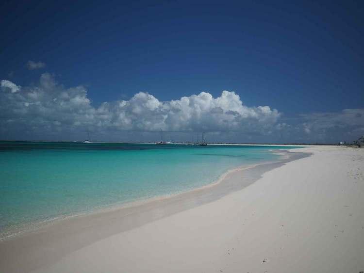 La plage magnifique aux eaux bleues turquoises de l'île de Barbuda.